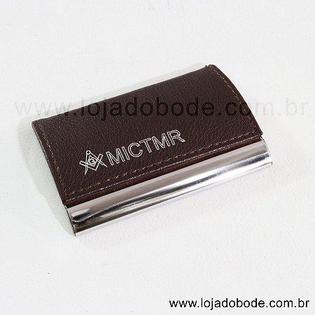 Porta cartões de visita - Aluminio e Couro - Esquadro e Compasso