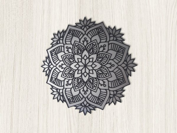 Mandala - Cromado e Preto Fosco - 40 x 40cm