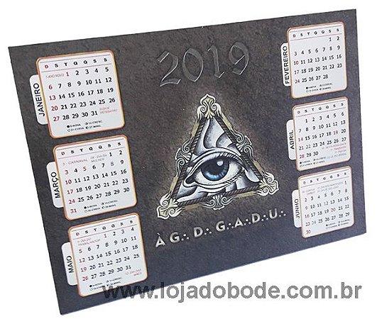 Calendário de mesa 6 meses 2019 - Olho que Tudo Vê