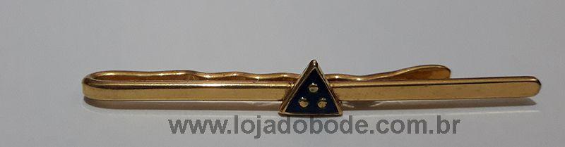 Prendedor de Gravatas - Triângulo 3 Pontos - Dourado e Azul