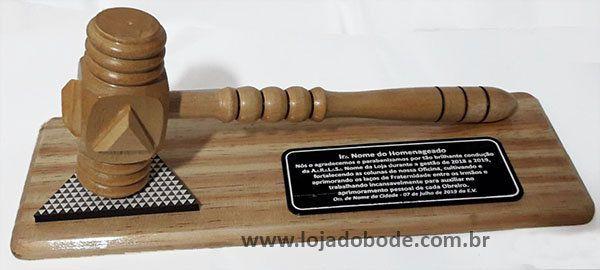 Troféu com Placa para Homenagem Malhete Grande