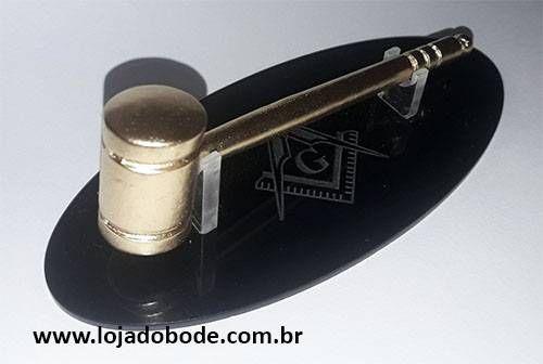 Miniatura de Malhete com Base em Acrilico Esquadro e Compasso Dourado