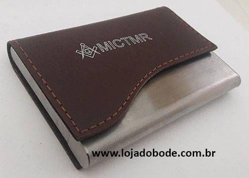 Porta Cartões de Visita - Aluminio e Couro