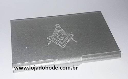 Porta Cartões de Visita - Aluminio com Esquadro e Compasso