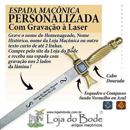 Espada Maçônica Ritualística Reta Dourada - COM GRAVAÇÃO A LASER
