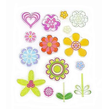 Kit Carimbos em Silicone Flores e Coração 15 Peças