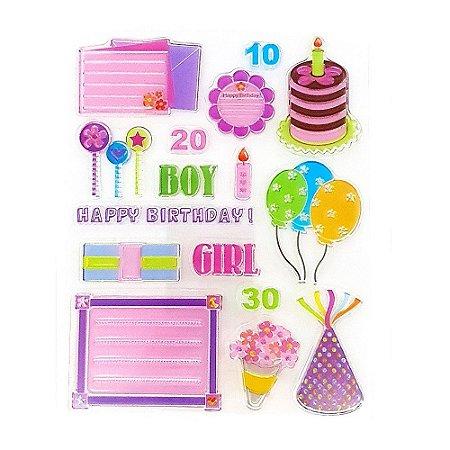 Kit Carimbos em Silicone Aniversário Boy Girl 16 Peças