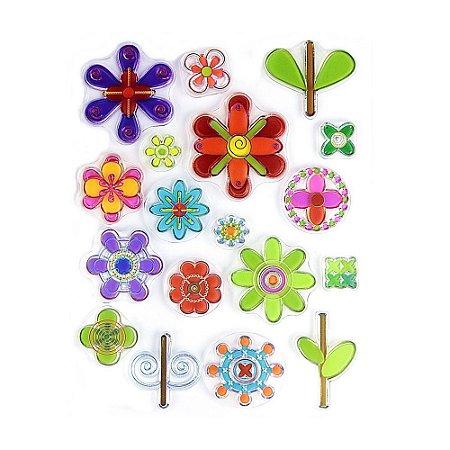 Kit Carimbos em Silicone Flores 18 Peças
