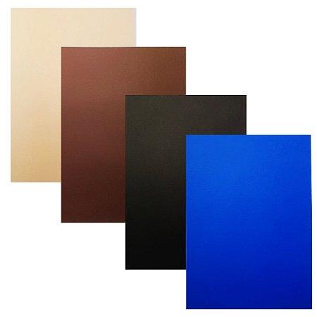 Kit 4 Unidades Papel para Scrapbook Color A4 Preto Azul Marrom Creme
