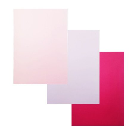 Kit 3 Unidades Papel para Scrapbook Color A4 Rosa Pink Lilás