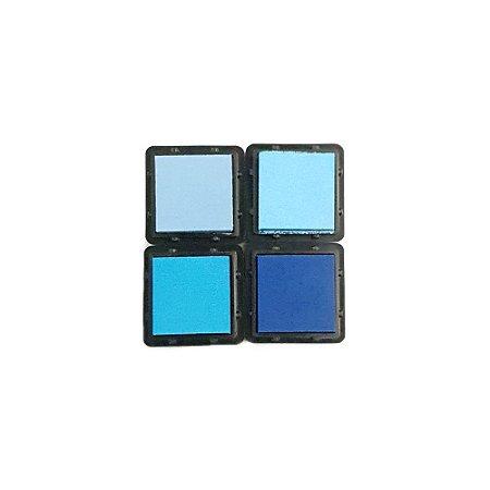 Coleção 4 Carimbeiras Almofadas para Carimbo Tom Azul