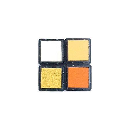 Coleção 4 Carimbeiras Almofadas para Carimbo Tom Amarelo e Laranja