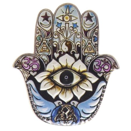 Mão de Fátima em Resina para Decoração Azul Claro Branco e Preto