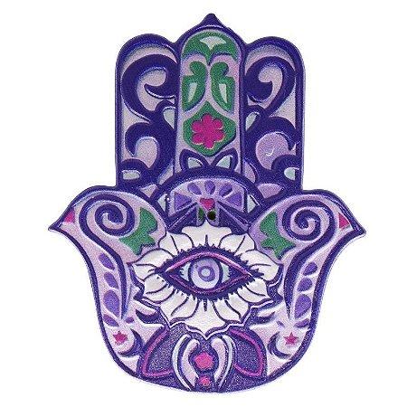 Mão de Fátima em Resina para Decoração Lilás e Verde