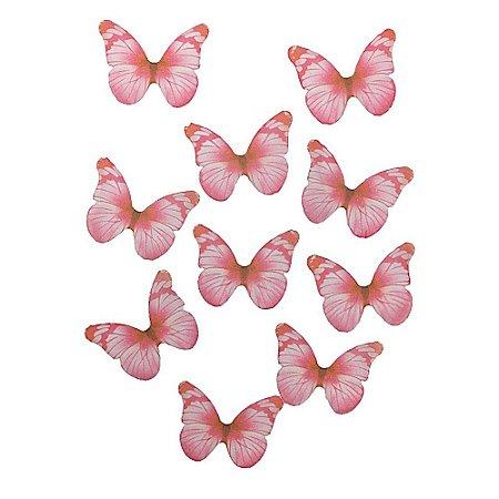 10 Unidades Borboletas em Tecido Rosa Nude