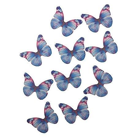 10 Unidades Borboletas em Tecido Azul Mesclado