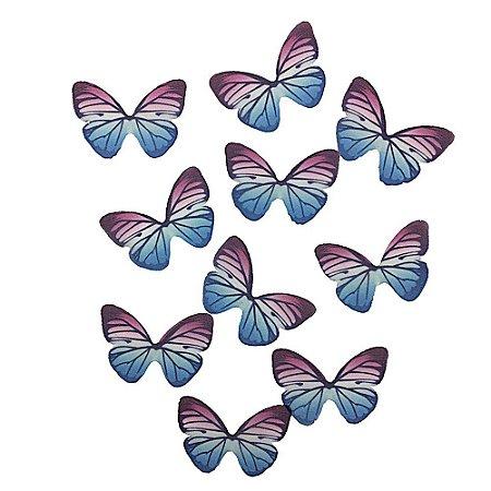 10 Unidades Borboletas em Tecido Rosa e Azul