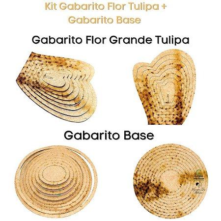 Kit Gabarito Flor Tulipa + Base Redonda