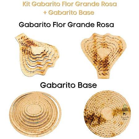 Kit Gabarito Flor Rosa 15x15cm + Base Redonda