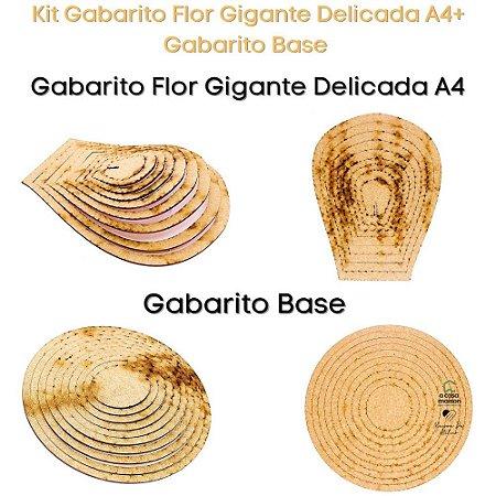 Kit Gabarito Flor Grande Delicada A4 + Base Redonda