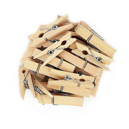 Mini Pregadores Madeira Natural - Tamanho 3,5 cm - 50 unidades