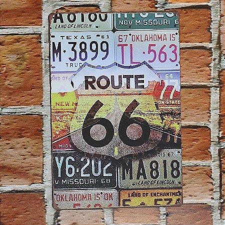 Placa em Metal Vintage Rota 66 30cm x 20cm Rota669
