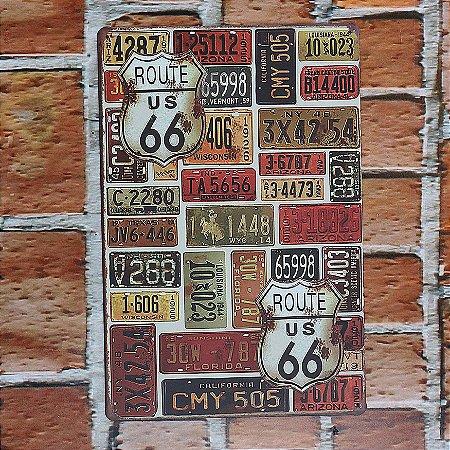 Placa em Metal Vintage Rota 66 30cm x 20cm Rota6610