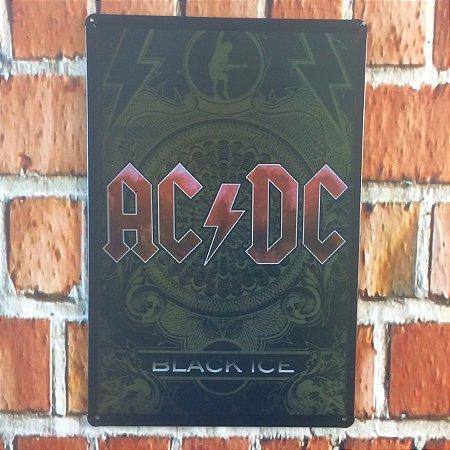 Placa em Metal Vintage 30cm x 20cm Rock 1 acdc