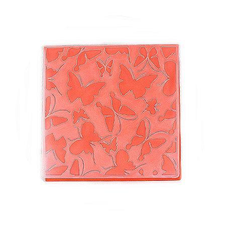 Placa de Textura Emboss 14 cm x 14 cm Borboletas Arabesco