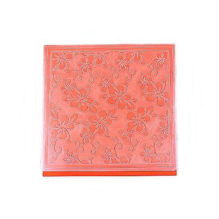 Placa de Textura Emboss 14 cm x 14 cm Flor de Hibisco
