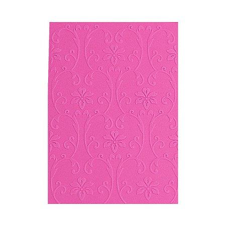 Placa de Textura Emboss 10,6 cm x 15 cm Arabesco com Flor