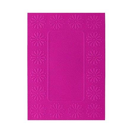 Placa de Textura Emboss 10,6 cm x 15 cm Moldura com Flor
