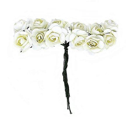 Mini Rosa de Papel 144 Unidades Pérola