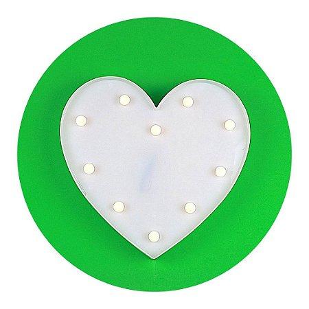 Luminária de Coração com LED - BRANCO - Tamanho 34,5cm