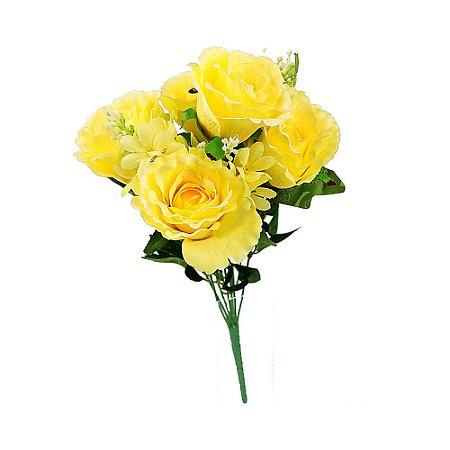 Buquê de Rosa Artificial Grande Amarela com 5 Botões