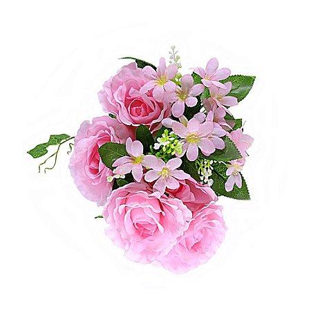 Buquê de Rosa Artificial Grande Rosa com 5 Botões