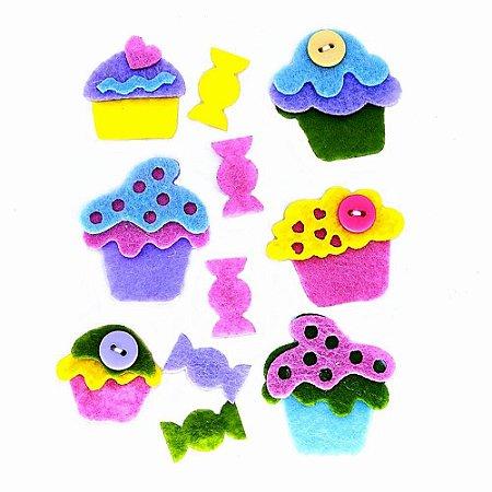 Adesivos em Feltro para Scrapbook 3D Cupcakes Amarelo e Azul