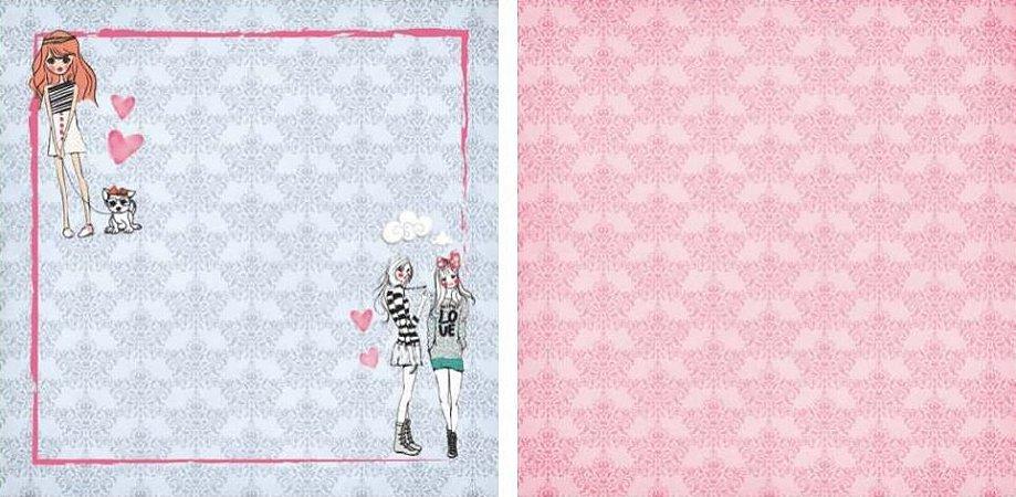 Papel para Scrapbook Desenhos 30,5x30,5 Art0020 Sweet Firends