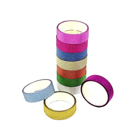 10 Unidades Fita Adesiva Decorativa Gliter Washi Tape