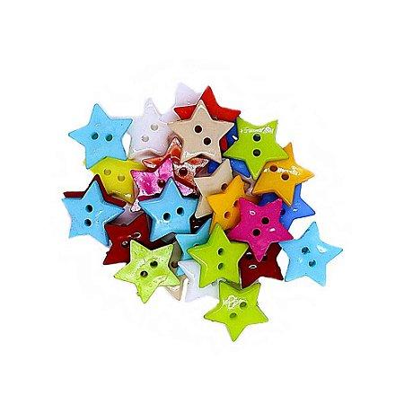 30 Unidades Botões Decorados para Artesanato Estrela