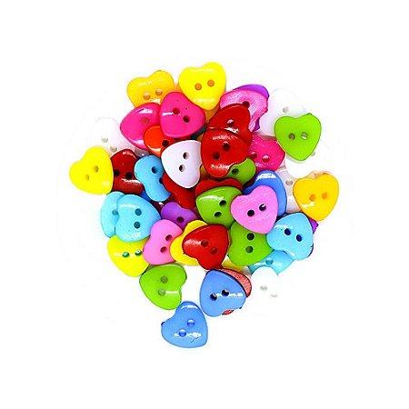 30 Unidades Botões Decorados para Artesanato Coração