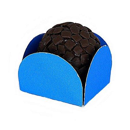 Forminha para Doce 4 pétalas Azul Escura com fundo de celofane 200 Unidades