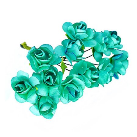 Mini Rosa de Papel Azul Tiffany 72 Unidades