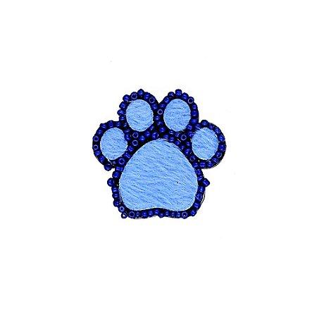 Aplique Pata P com Missanga e Pelo Azul Escuro e Azul Claro