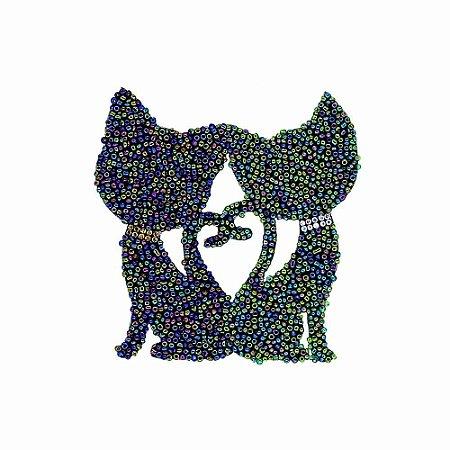 Aplique Gatos com Missanga Multicolor