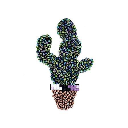 Aplique Cacto com Missanga Multicolor