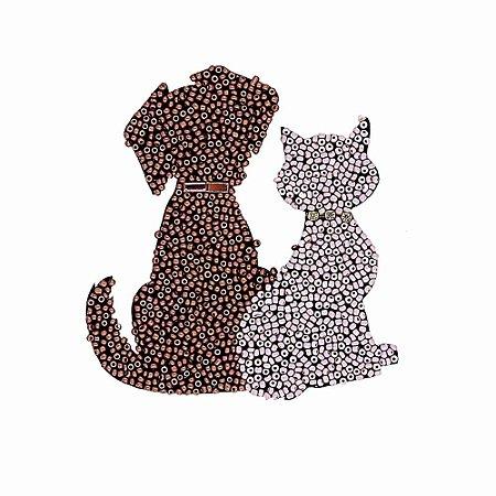 Aplique Cachorro e Gato com Missanga