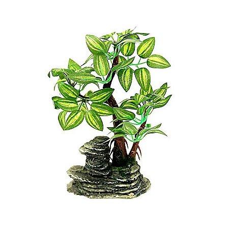 Mini Arvore Bonsai Artificial Com Pedra Natural Modelo 2