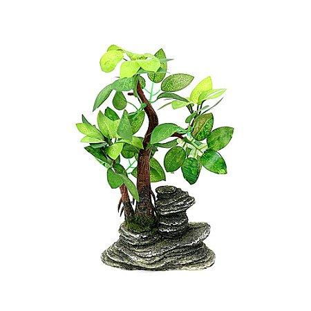 Mini Arvore Bonsai Artificial Com Pedra Natural Modelo 5