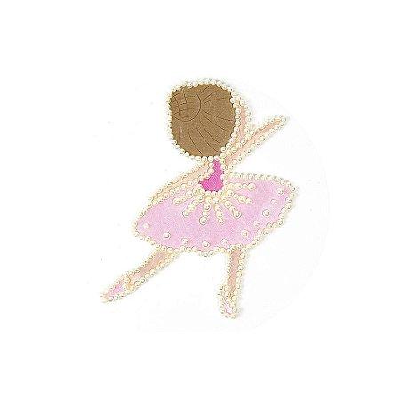 Aplique Bailarina com Pérola e Cetim Rosa Bebê